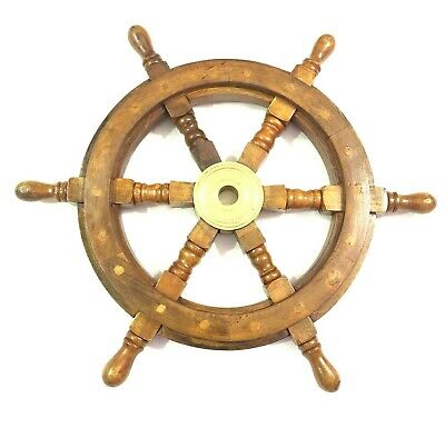 £37.50 • Buy 18  Antique Wooden Ship Steering Wheel Pirate Decor Brass Fishing Wall Boat