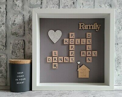 Scrabble Picture Box Frame Word Art Personalised Heart/House - Slate Grey • 26£