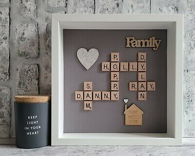 £26 • Buy Scrabble Picture Box Frame Word Wall Art Personalised Heart/House - Slate Grey