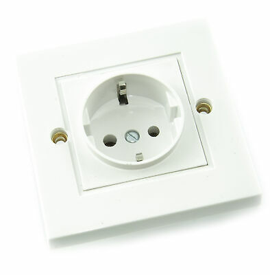 1 Gang/ Way Single Schuko Electrical European Power Socket - WHITE • 18.99£