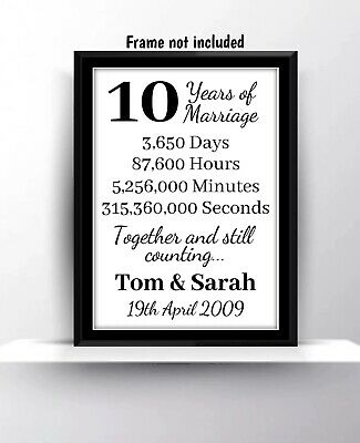 Personalised 10th Wedding Anniversary Gift Print Husband Wife Home Decor Love • 3.99£