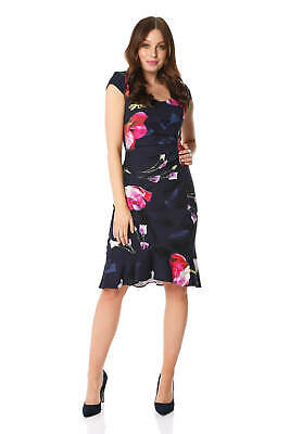 Roman Originals Women Floral Print Midi Ruffle Hem Dress • 38.40£