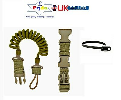 Metal Detecting, Military Coiled Lanyard Fits Pinpoint Probes Or Trowels. Khaki. • 12.99£