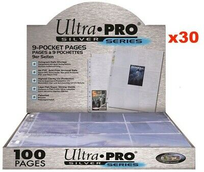 ULTRA PRO SILVER 9 POCKET AFL POKEMON MTG TRADING CARD SLEEVES X 30 PAGES  • 10.47£