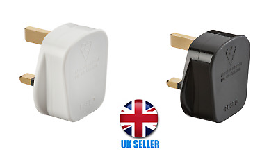 £1.99 • Buy 3 Pin UK 13A Plug Top With 13A Fuse - Black And White (Screw Cord Grip)