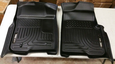 SALE HUSKY LINERS Black WeatherBEATER Front Floor Mats For Ford F150 2009-2014 • 93$