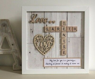 £26 • Buy (f) Scrabble Art Picture Frame Love Couples Valentine Engagement Anniversary