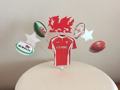 £6.99 • Buy Welsh Rugby Birthday Cake Topper Shirt, Dragon Balls, Stars, Wales (Unofficial)