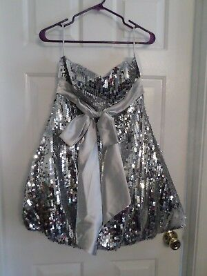 £28.75 • Buy SCALA Silver Sequin Prom/Evening/Holiday/Pagent/New Years Dress Sz 8 NWT!
