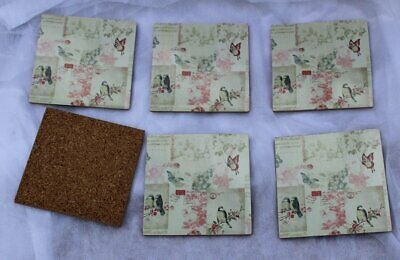 Six Square Decoupage Coasters With Birds And Butterfly's • 12£
