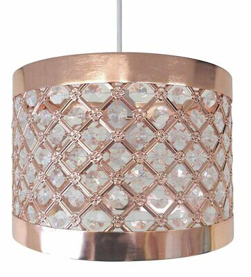 £25.03 • Buy Rose Gold Bedroom Accessories Sparkly Ceiling Pendant Light Shade Fittings Lamp