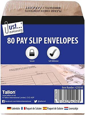 £4.99 • Buy Printed Wage Pay Packets Brown Self Seal Envelopes Cash Payment New