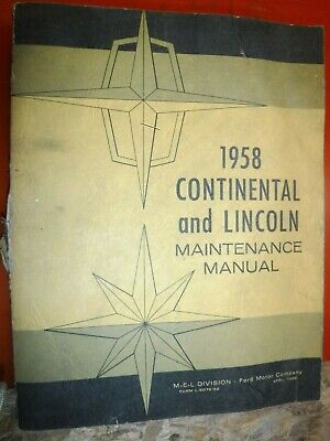 $23.24 • Buy 1958 Continental And Lincoln Original Factory Service Manual Maintenance