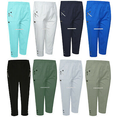Ladies 3/4 Trousers Womens Three Quarter Soft Trendy Button Detail Capri Pants • 10.95£
