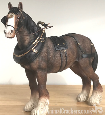 Large 22cm Bay Shire Cart Heavy Horse In Harness Ornament Figurine Leonardo • 27.95£