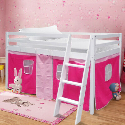 Pink Girls Cabin Loft Bed Childrens Mid Sleeper Bunk Bed Kids Single Bed W/Tent • 182.95£