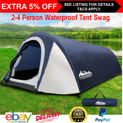 AU89 • Buy Waterproof Tent Camping Dome 2-4 Person Family Man Pop Cabin Canvas Hiking