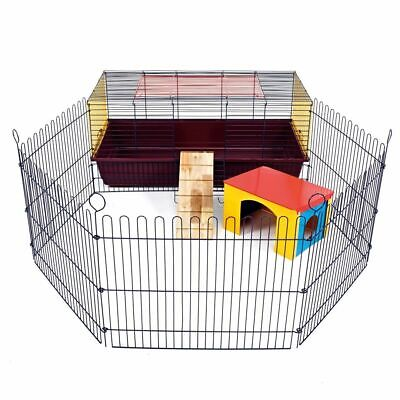 Indoor Rabbit Cage With Run 100 CM - Small Pet Guinea Pig Single Tier Brand New • 64.96£