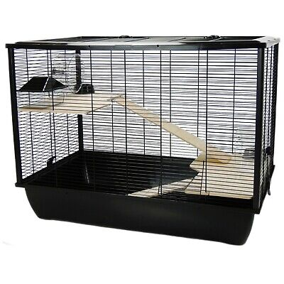 £69.99 • Buy Large Rat Hamster Mouse Cage Black Base Two Tiers Wooden Shelves - The Langham
