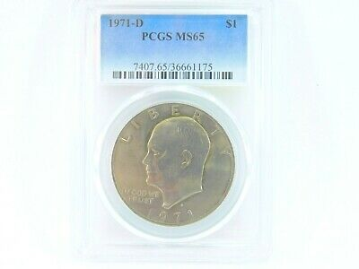 $25 • Buy 1971-D PCGS MS65 Eisenhower $1 IKE One Dollar Uncirculated Certified Coin BJ0032