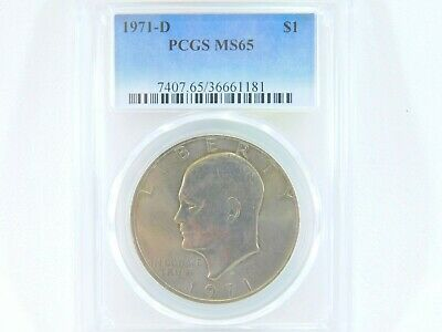 $25 • Buy 1971-D PCGS MS65 Eisenhower $1 IKE One Dollar Uncirculated Certified Coin BJ0033