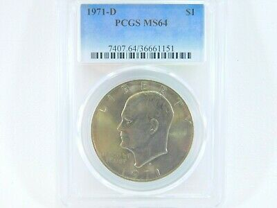 $20 • Buy 1971-D PCGS MS64 Eisenhower $1 IKE One Dollar Uncirculated Certified Coin BJ0043