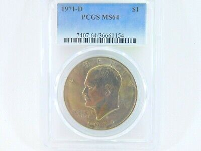 $20 • Buy 1971-D PCGS MS64 Eisenhower $1 IKE One Dollar Uncirculated Certified Coin BJ0044