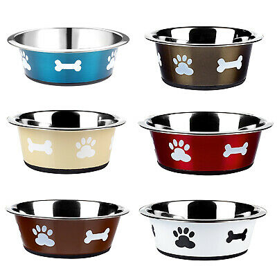£7.17 • Buy Dog Cat Rabbit Pet Animal Bowls Small Large Metal Stainless Steel Dish Classic