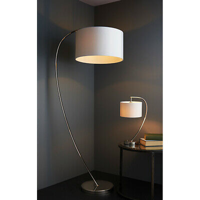 Elegant Floor Lamp Bright Nickel Arched Base  & Vintage White Shade -Foot Switch • 159.99£