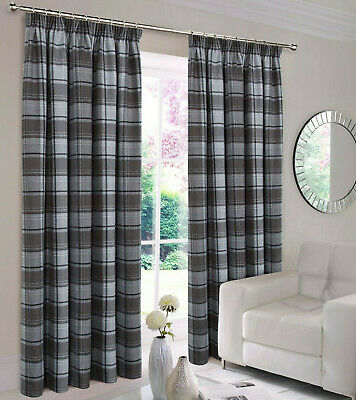 Highland Faux Wool Grey Charcoal Multi Checked Tartan Tape Top Pair Of Curtains • 33.99£