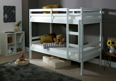 Bunk Bed Kids Childrens Bed White Wooden With Mattress Option • 449.99£