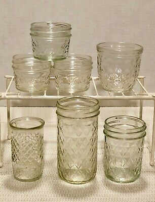 7 Vintage 4, 8, 12 Oz Ball Quilted Crystal Jelly Glass Jar No Lid 1, 1/2 Pt Lot • 18.95$