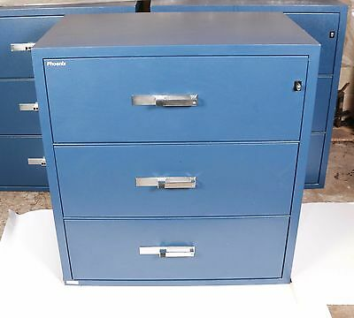 Phoenix 3-drawer Fireproof  Blue File Cabinet Great Condition  • 1,250$