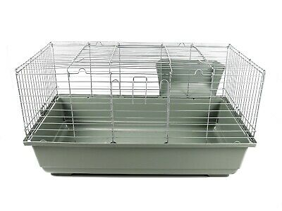 Extra Large Rabbit Cage 120cm Small Pet Guinea Pig Indoor Silver Plastic Metal • 49.99£