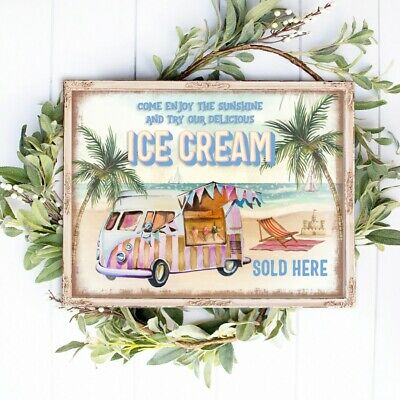£5 • Buy Retro Ice Cream Sign Poster 50s Sundae Bar Cafe Wall Art Picture Party Campervan