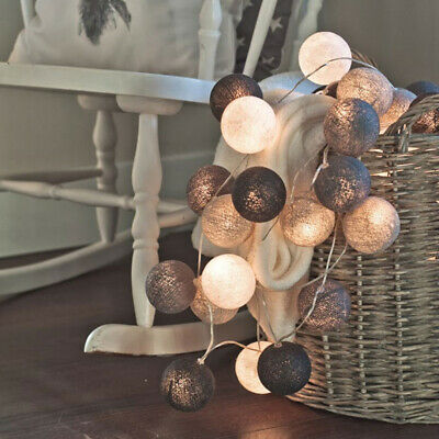 $17.92 • Buy 20 Globes LED Cotton Ball Light Dry Battery 3M String Lights Holiday Decor SS919