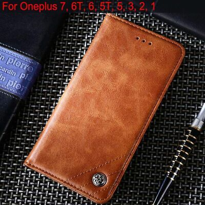 AU18.48 • Buy Leather Cases Flip Cover With Stand For Oneplus 7 Wallet Card Slots Phone Covers