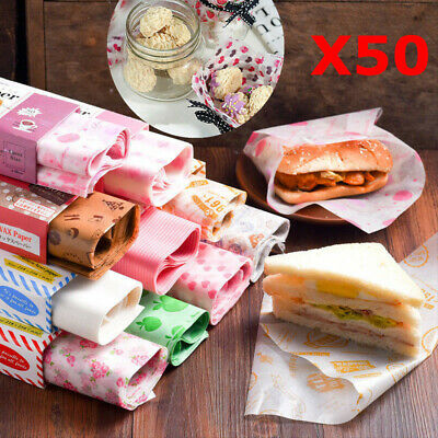 £5.99 • Buy 50Pcs Disposable Food Wrapping Wax Paper Hambur Sandwich Bread Candy Wrap Paper
