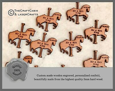 Personalised Fairytale Wooden Carousel Horse Wedding Confetti, Mr & Mrs Table • 9.99£
