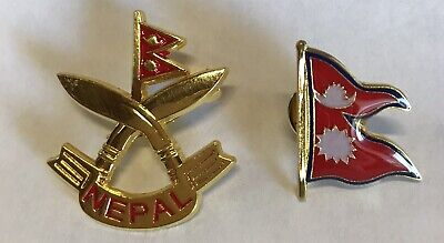 Nepal Country Flag  And Khukuri Cross Metal Lapel PIN BADGE ..NEW 2 Pcs • 6.28£
