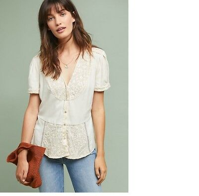 $ CDN89.86 • Buy NWT   Anthropologie TALIA LACE BUTTONDOWN  Size S New  SMALL