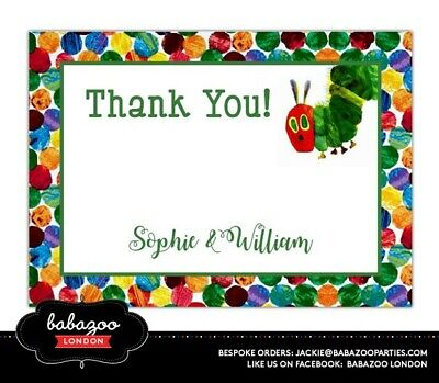 Personalised Hungry Caterpillar Thank You Cards (10) - Size A6 | With Envelopes • 9.50£
