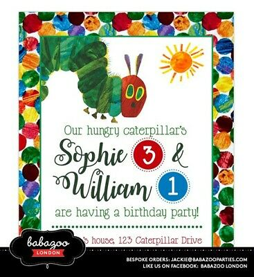 Personalised Hungry Caterpillar Invitations (10) - Size A6 | With Envelopes • 9.50£