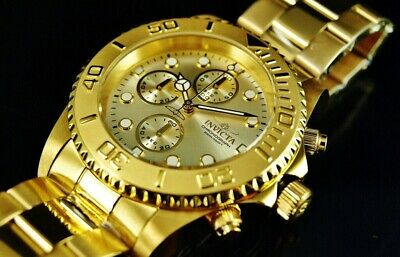 $ CDN101.27 • Buy Invicta Men's 44mm Pro Diver Chronograph 18K Gold Plated Champagne Dial SS Watch