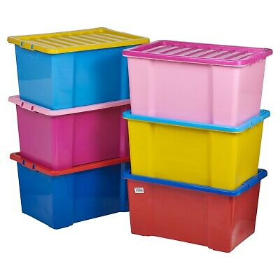 £10.99 • Buy 50 Litre Coloured Plastic Storage Boxes Clip Lid Quality Stackable Container NEW