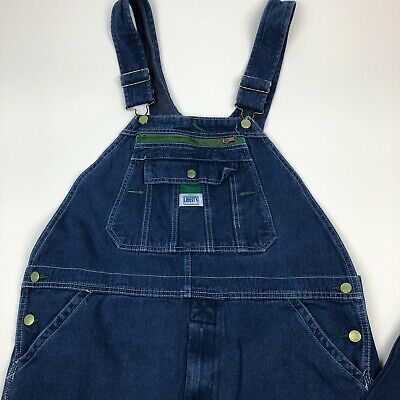 de9b5bf8 VTG Liberty Mens 36x30 Spell Out Casual Denim Jean Overalls Blue Small Flaw  Pic • 39.88