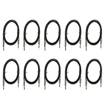 $ CDN46.24 • Buy 10 PACK LOT 1/4 Mono GUITAR Instrument Keyboard Bass Pedal Patch Cable 2 Ft Foot