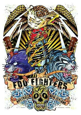 Reproduction  Foo Fighters - Australia 2008 ,  Poster, Grunge, Home Wall Art • 13.50£