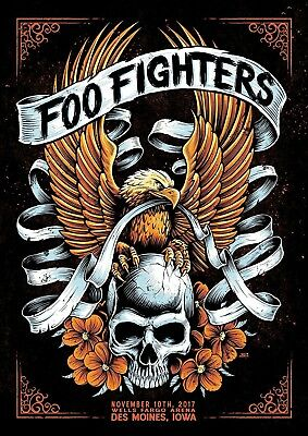Reproduction  Foo Fighters - Des Moines ,  Poster, Grunge, Size A3 • 11.50£