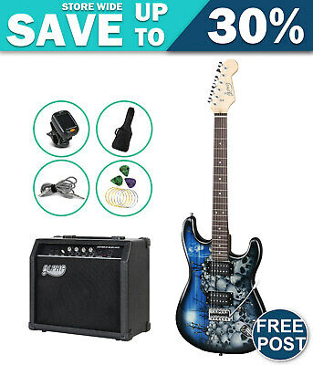 AU203.28 • Buy ALPHA Electric Guitar Black And Blue With Carry Bag